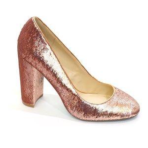 Betsey Johnson Rose Gold Sequin Heels
